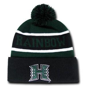 75e9fabd940 Details about University of Hawaii Rainbow Warriors NCAA Winter Pom Cuff  Knit Beanie Cap Hat