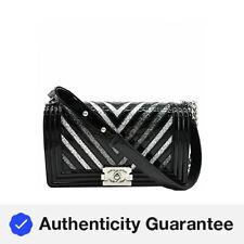 CHANEL Medium Boy Chevron Patent Glitter PVC Shoulder Bag Black