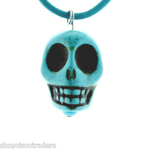 Dyed-Howlite-Day-of-Dead-Skull-ARTISAN-Necklace-A43-4-Leather-BOHO-FREE-GIFT-BOX