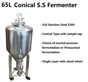 65LFull-Stainless-Steel-Single-layer-S304-Conical-Pressurized-Fermenter