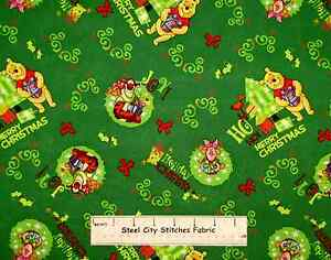 Disney-Winnie-The-Pooh-Piglet-Tigger-Merry-Christmas-Green-Cotton-Fabric-YARD