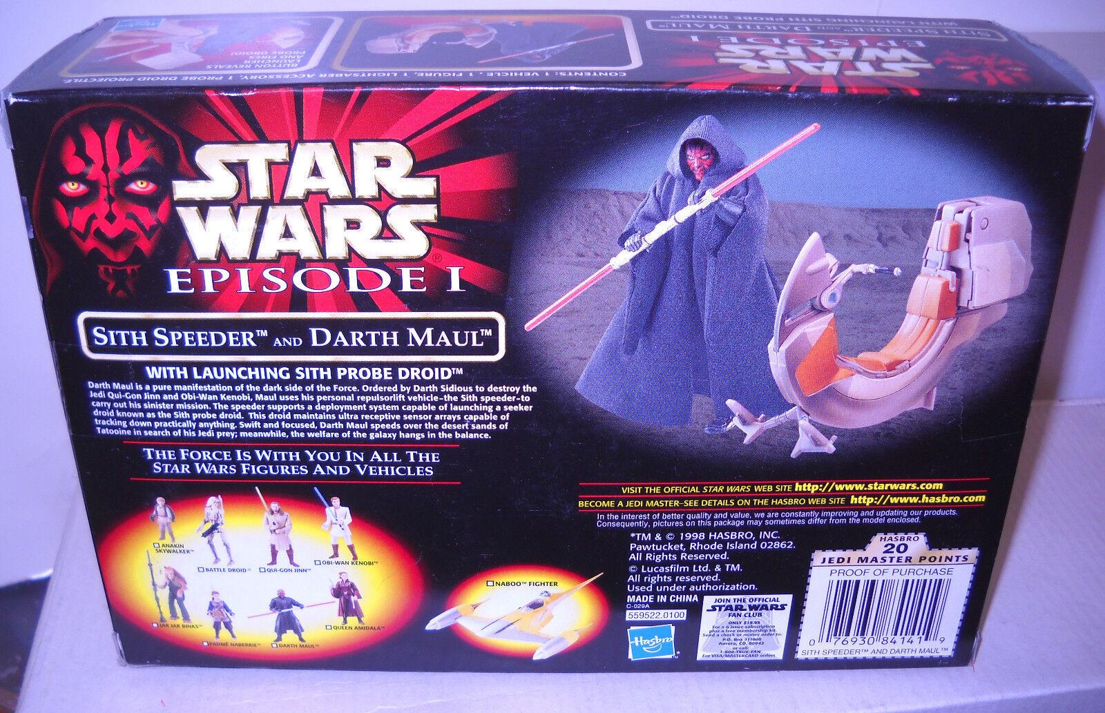 NRFB Hasbro Star Wars Episode Episode Episode I Sith Speeder & Darth Maul Figure 43f3ab