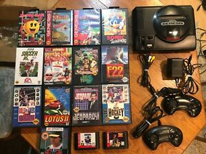 Sega-Genesis-Console-Model-1-System-w-15-Boxed-Games-Bundle-Nice-Shape-Works