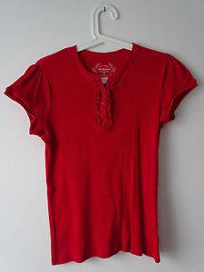 T-Shirt-rundhals-Rippenstoff-Knopfleiste-Rueschen-rot-Gr-L-Arizona-Vers-2-70
