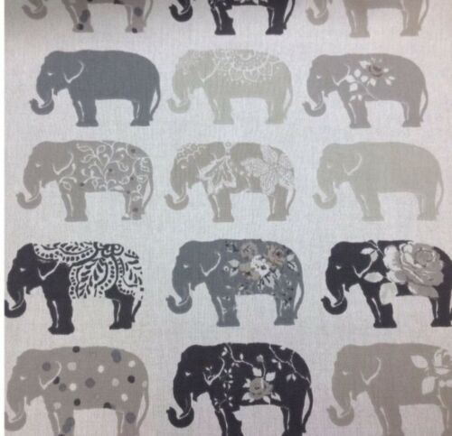 Clarke and Clarke-Studio G-Elephants Cotton Print Fabric.For Upholstery//Curtains