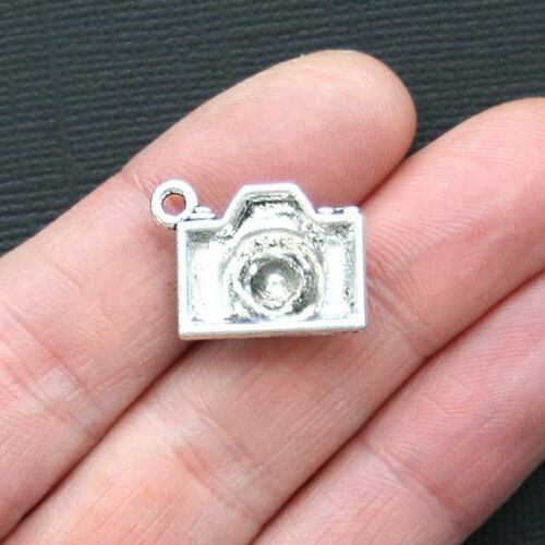 5 Camera Charms Antique Silver Tone with Rhinestone Lens SC3057