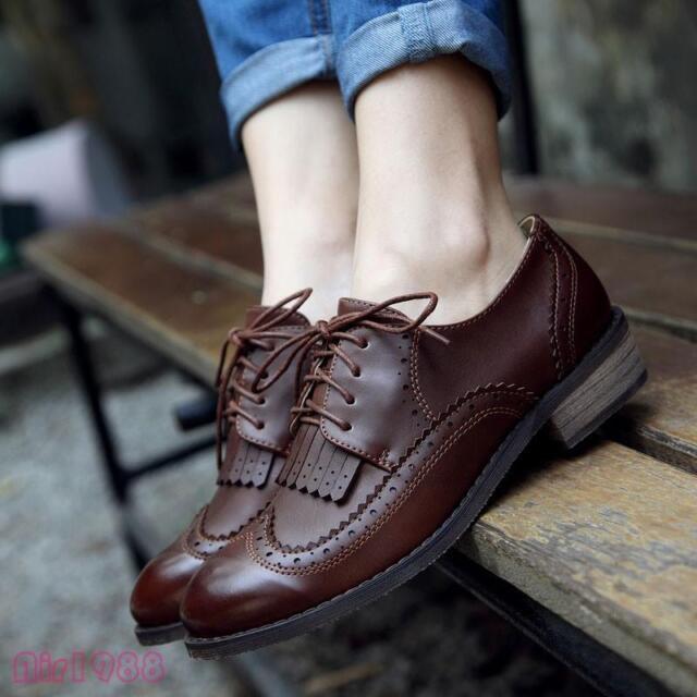 Women Wingtip Lace Up Vintage Oxford Shoes Brogues Women Nurselinehealthcare Shoes