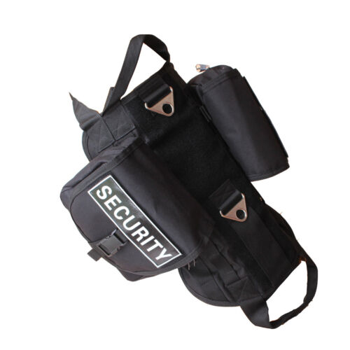 Tactical Military Service Dog Harness Molle Vest Removable Side Bags /& Patches