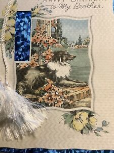 1993-Vintage-30s-Happy-Birthday-BROTHER-Collie-Dog-Awaits-Rose-Greeting-Card