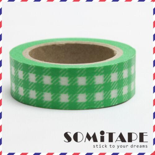 Artesanales Decorativos Cinta Marca verde con cuadros gingham en patrón Washi Tape