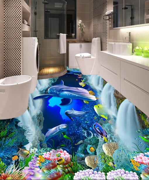 3D Coral  Dolphins 42 Floor WallPaper Murals Wall Print 5D AJ WALLPAPER UK Lemon