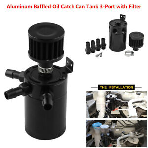 Dig dog bone Universal Aluminum Compact Baffled 3-Port Oil Catch Can//Tank//Air-Oil Separator 3Port 2Inlets and 1Outlet with Drain Valve Color : Black