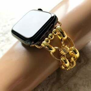 Gold Color Concave Chain Link Bracelet for Apple 38 40 42 44mm Watch All Series
