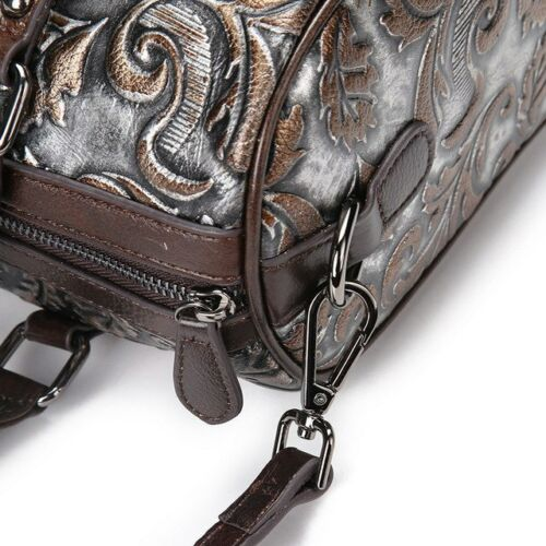 Femme Grand Sac porté épaule en cuir rétro Première couche de vachette gaufré handbags
