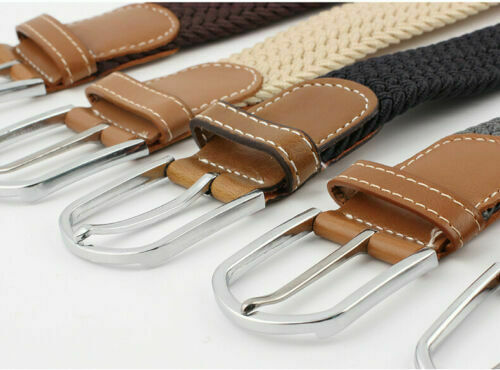 Belt For Men Elastic Waistband Canvas Buckle Braided Mens Woven Stretch Straps