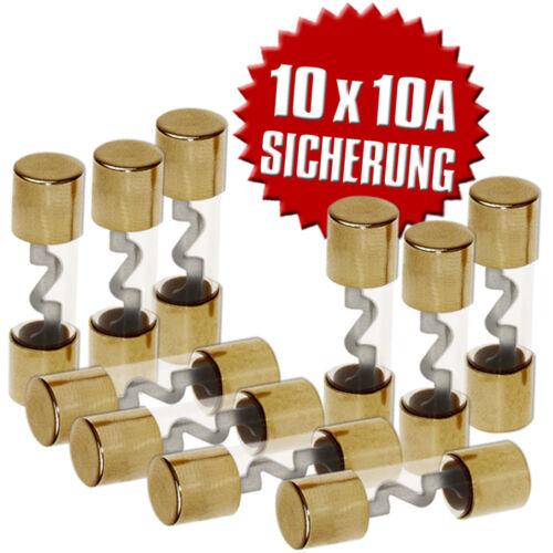 AGU Sicherung vergoldet Glassicherung 10,3x38mm 10A Glasrohrsicherung 10 Stück