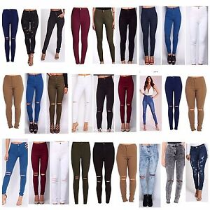 WOMENS HIGH WAISTED RIPPED KNEE SKINNY JEANS LADIES JEGGINGS 6//8//10//12//14//16