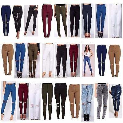 Kenntnisreich Womens High Waist Ripped Knee Skinny Jeans Ladies Jeggings 6/8/10/12/14/16/18/20 Quell Sommer Durst
