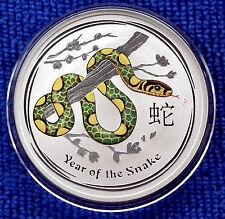 2013 serpiente lunar onza Troy de color 1 (31.135g) 99.9% Puro Plata $1 NUEVO/MENTA/UNC