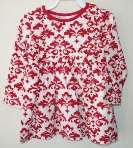 New-In-Package-Kelly-039-s-Kids-Red-White-Damask-Ruffle-Bib-Paula-Dress-Sz-5-6