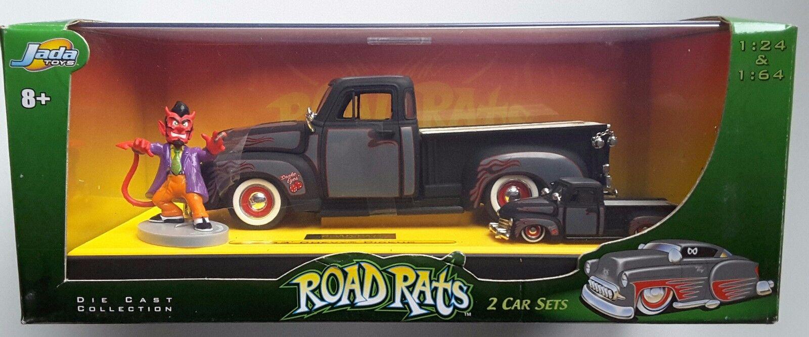 1953 Chevy Pickup & Diablo Figura Rara Jada Road ratas Diecast 2 Coche Set 1 64 1 24