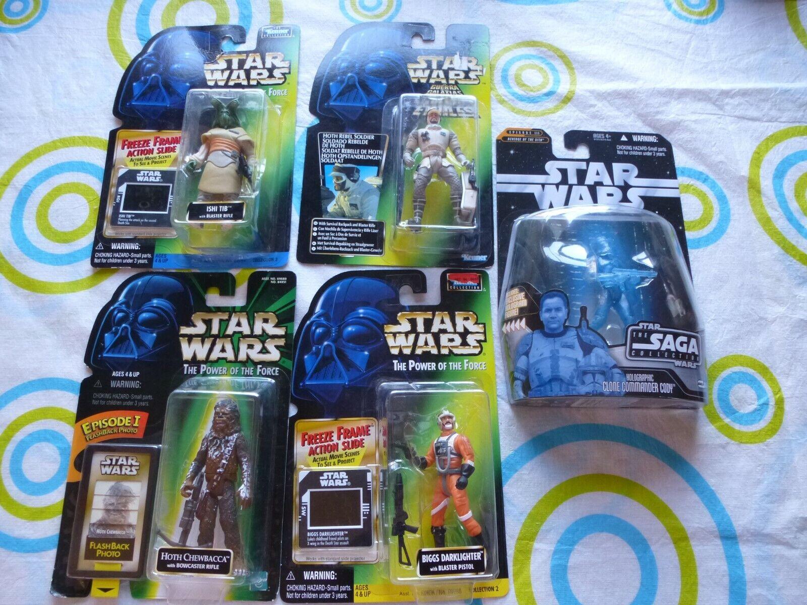 NEW Star Wars x5 Power of the Force Saga Holographic Ishi Tib Biggs Chewbacca