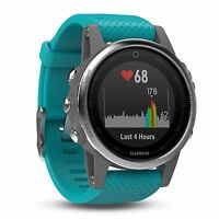 Garmin Fenix 5s Silver W/turquose Band Gps/glonass Multisport Watch 010-01685-01
