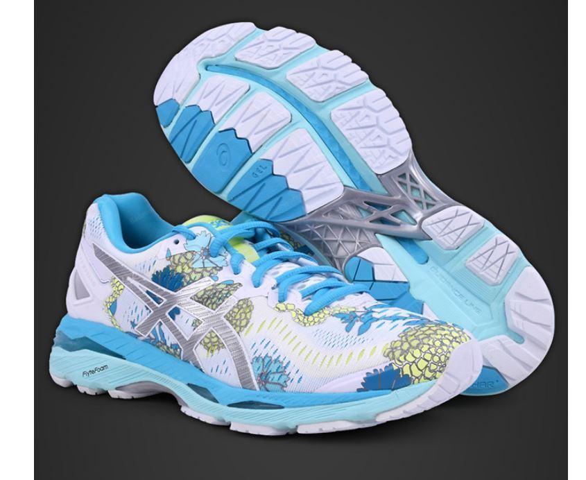 Asics femmes Gel Kayano 23 BLANC ARGENT Aquarium Chaussures De Course, Baskets T6A5N-0193