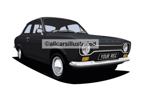 FORD ESCORT MK1 CAR ART PRINT PICTURE SIZE A4 PERSONALISE IT!