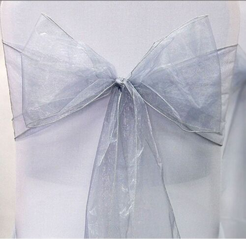 10 X Organza Sashes Chair Cover Bow Sash WIDER FULLER BOWS Wedding Party