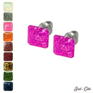 1 Pair Square Studs with Glitter Effect Pink Gold Blue Green Purple