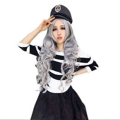 Fashion Full Cosplay Lolita Party Wig Women Stone gray Long Curly Wavy Hair