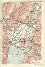 Carta geografica antica LAGO DI GARDA Riva Torbole TCI 1920 Antique map