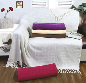 Image Is Loading 100 Cotton Large Sofa Throw Cover Luxury Heavy