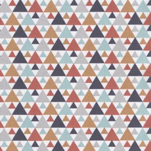 100/% Cotton Fabr Triangle Trees Terracotta // Aqua Playtime Petit Motif 4