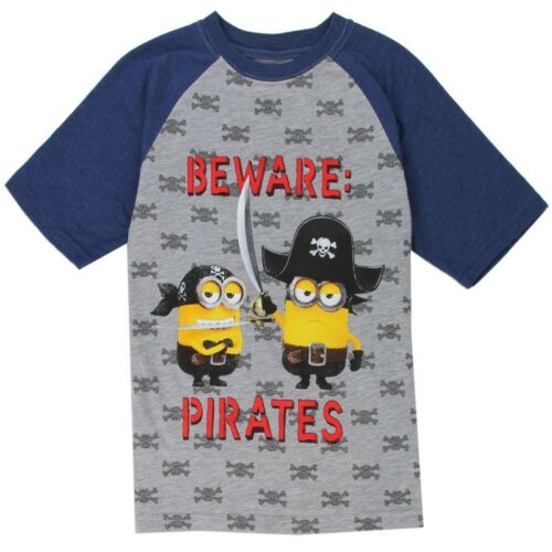 Minions Beware Pirates Despicable Me Youth Kid Ringer Shirt