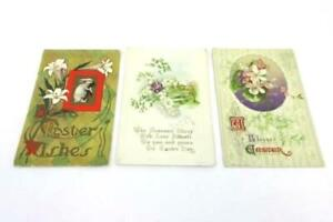 3-Antique-Early-1900-039-s-Vintage-Postcards-Easter-Flowers-Lilies-Postmarks