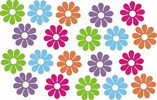 20 DAISY FLOWER STICKERS skateboard car bike  wagons 5 retro colors decal