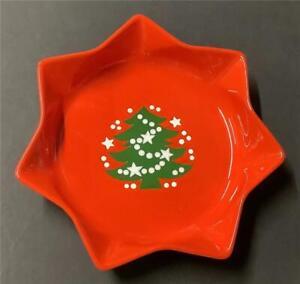"Waechtersbach Christmas Tree STAR SERVING BOWL red green 10"" x 2"" W. Germany"