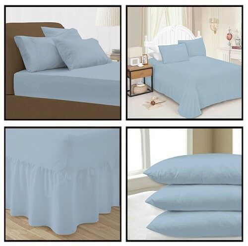 Sky Blue Plain Dyed Fitted Flat Valance Bed Sheet Single Double King Pillow Case
