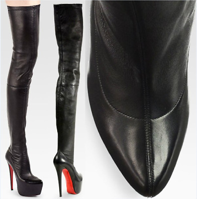 separation shoes 4c287 4aa83 CHRISTIAN LOUBOUTIN Monicarina BLACK LEATHER OVER THE KNEE BOOTS EU 39.5 US  9.0 | eBay