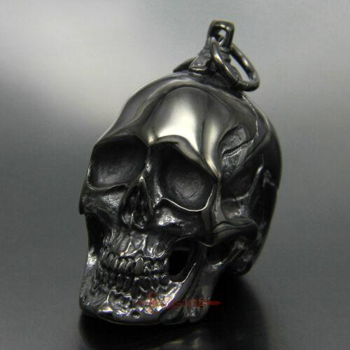 Men/'s Heavy Gothic Black Skull Stainless Steel Biker Necklace Pendant 45 Grams