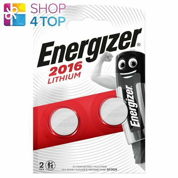 2 energizer cr2016 lithium batteries 3v coin cell dl2016 exp 2029 2bl new