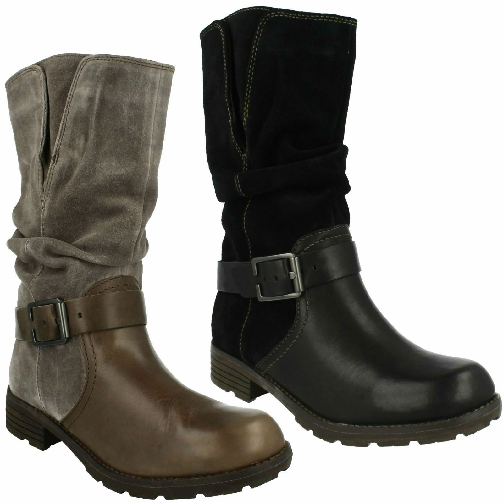 NATIONAL SPICE CLARKS LADIES LEATHER SUEDE WINTER BLACK GREY MID CALF BOOTS
