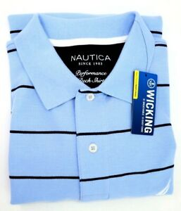 Nautica-Golf-Polo-Shirt-Mens-L-Light-Blue-Stripes-Classic-Fit-Breathable-Wicking