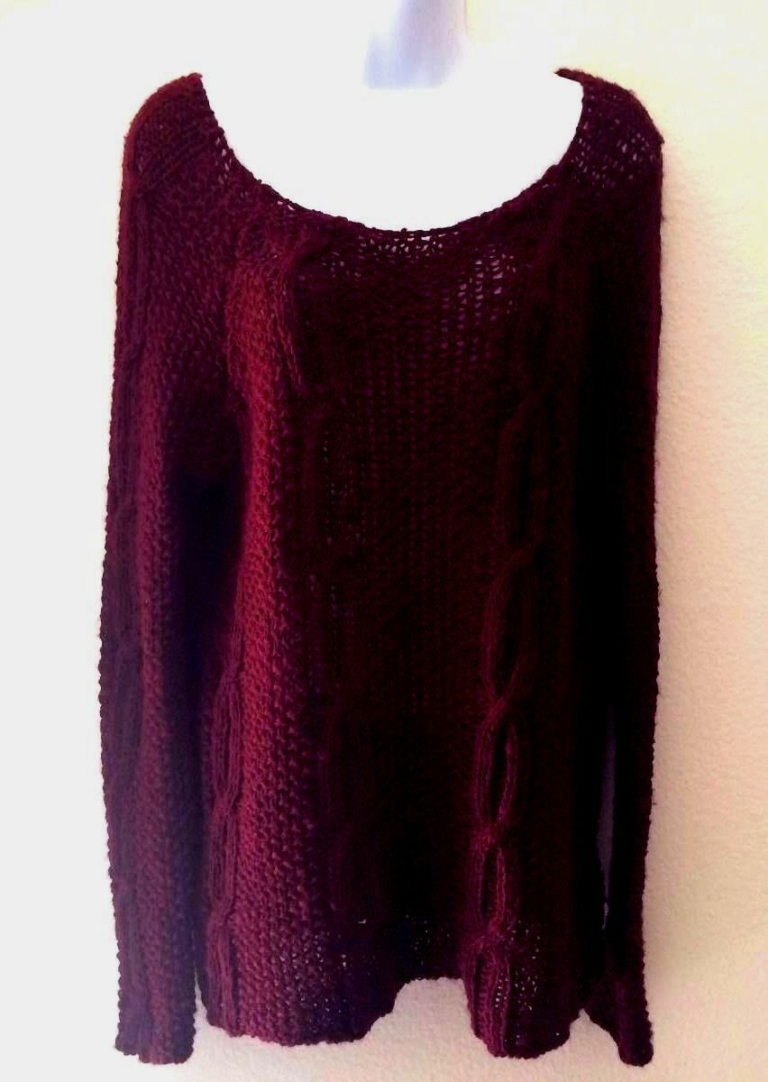 350 NWT Berretti crocheted wine-red sweater made made made in  Sz L 2e47ce