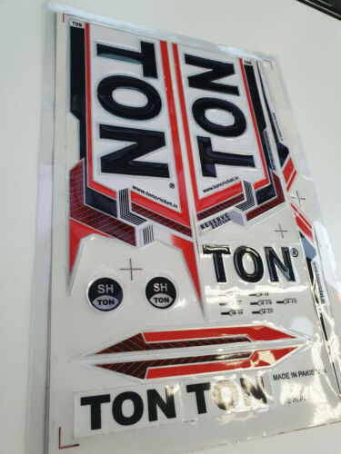 *3D//EMBOSSED* TON RESERVE EDITION PREMIUM ENGLISH WILLOW CRICKET BAT STICKER RED