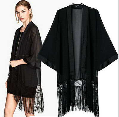 New Black Tassel Boho Hippie Casual Chiffon Top Kimono Coat Cape Blazer Jacket
