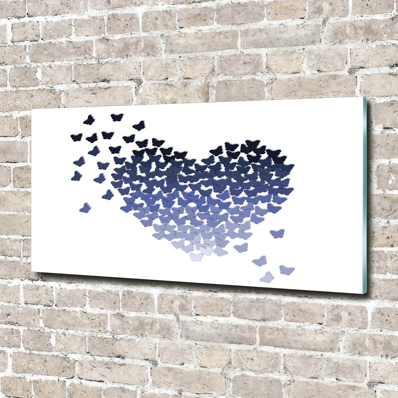 Acrylglas-Bild Wandbilder Druck 140x70 Deko Kinderzimmer Schmetterlinge Herz