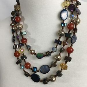 Layered-Necklace-Glass-Faceted-Beads-Shell-Metal-Beads-Blues-Earth-Tones-Crystal